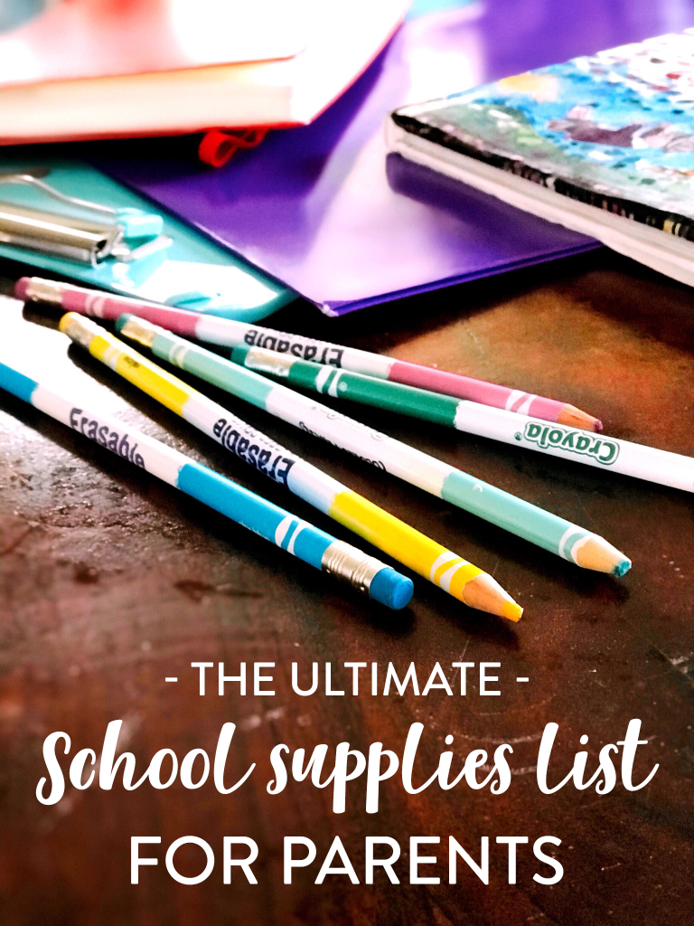 The Ultimate School supplies list for parents