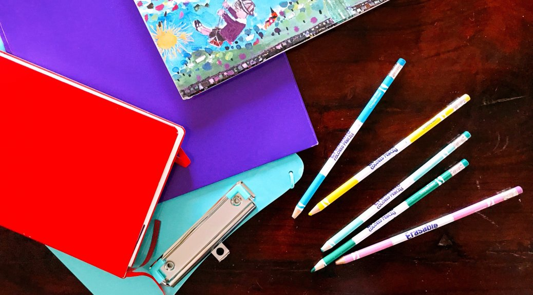 School supplies on table