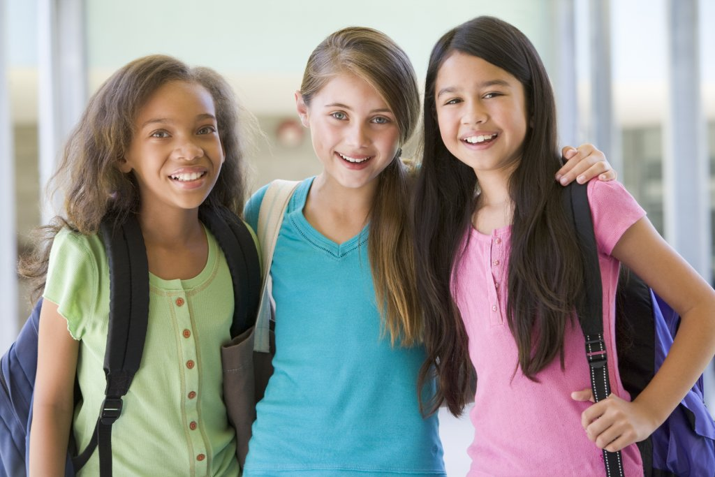 Young girls friends at school